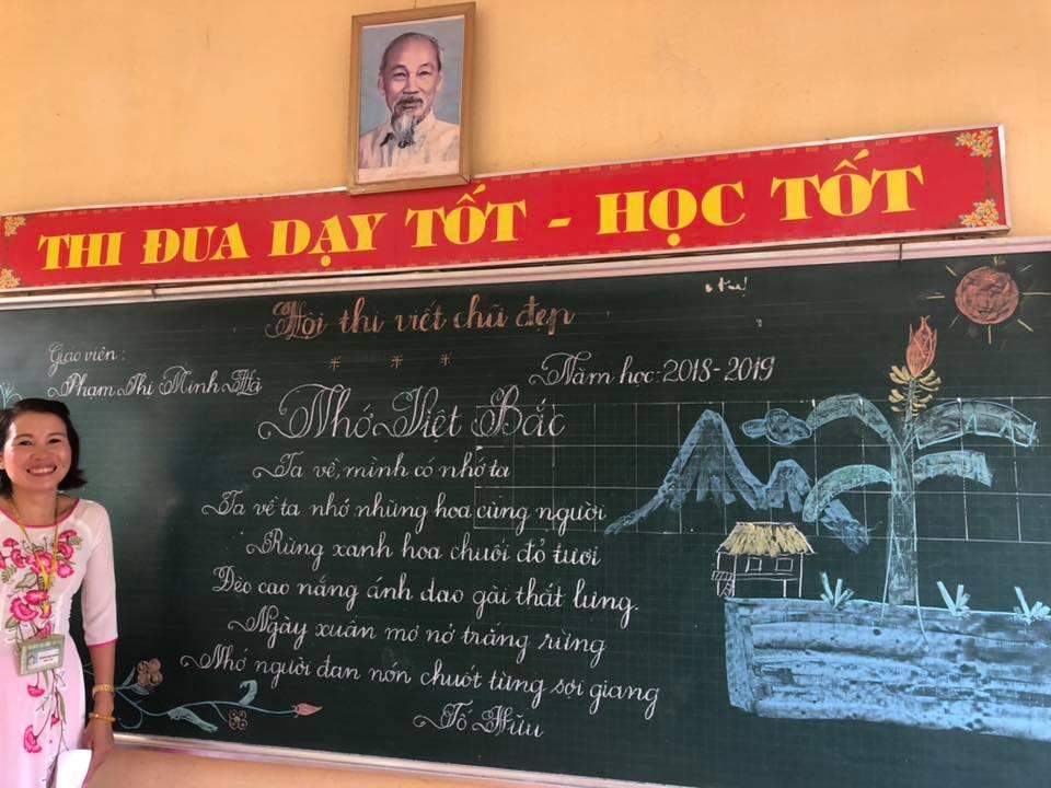 viet bang dep 10 - Ngưỡng mộ bài thi viết bảng đẹp của giáo viên trường Lâm Giang