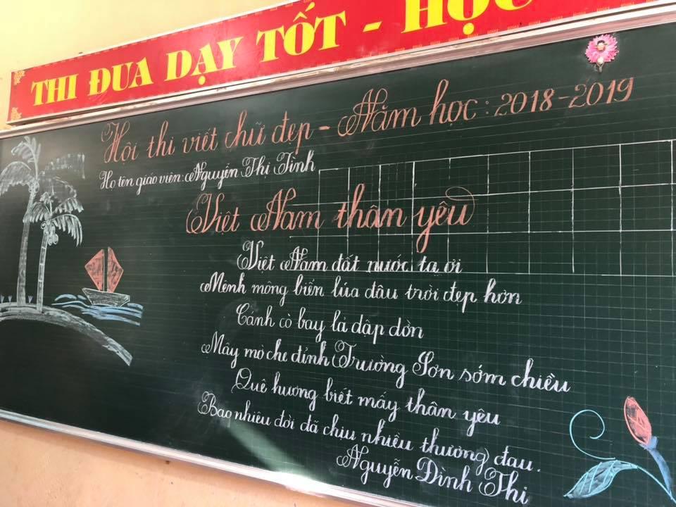 viet bang dep 11 - Ngưỡng mộ bài thi viết bảng đẹp của giáo viên trường Lâm Giang