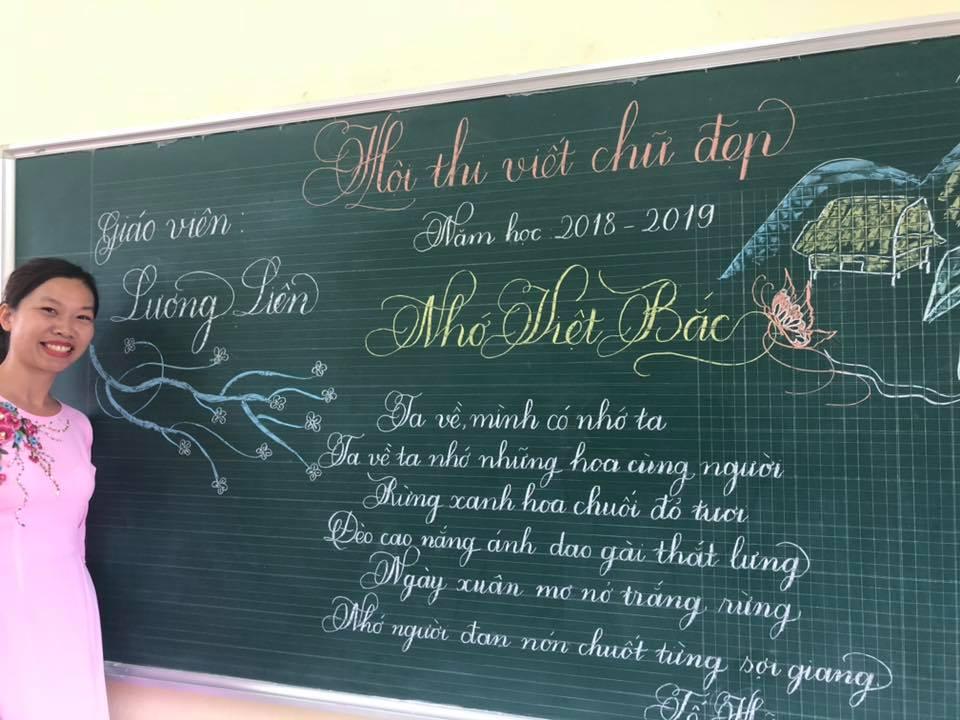 viet bang dep 13 - Ngưỡng mộ bài thi viết bảng đẹp của giáo viên trường Lâm Giang