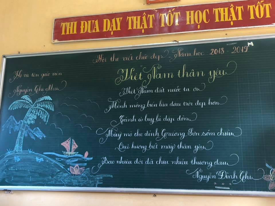viet bang dep 14 - Ngưỡng mộ bài thi viết bảng đẹp của giáo viên trường Lâm Giang