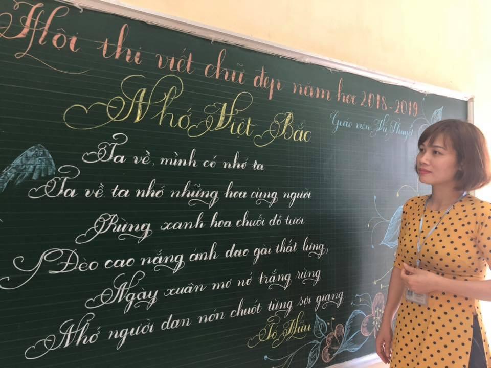 viet bang dep 16 - Ngưỡng mộ bài thi viết bảng đẹp của giáo viên trường Lâm Giang