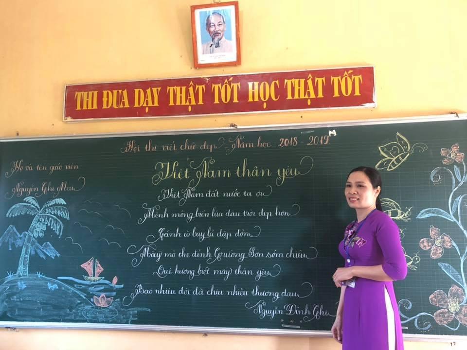 viet bang dep 17 - Ngưỡng mộ bài thi viết bảng đẹp của giáo viên trường Lâm Giang