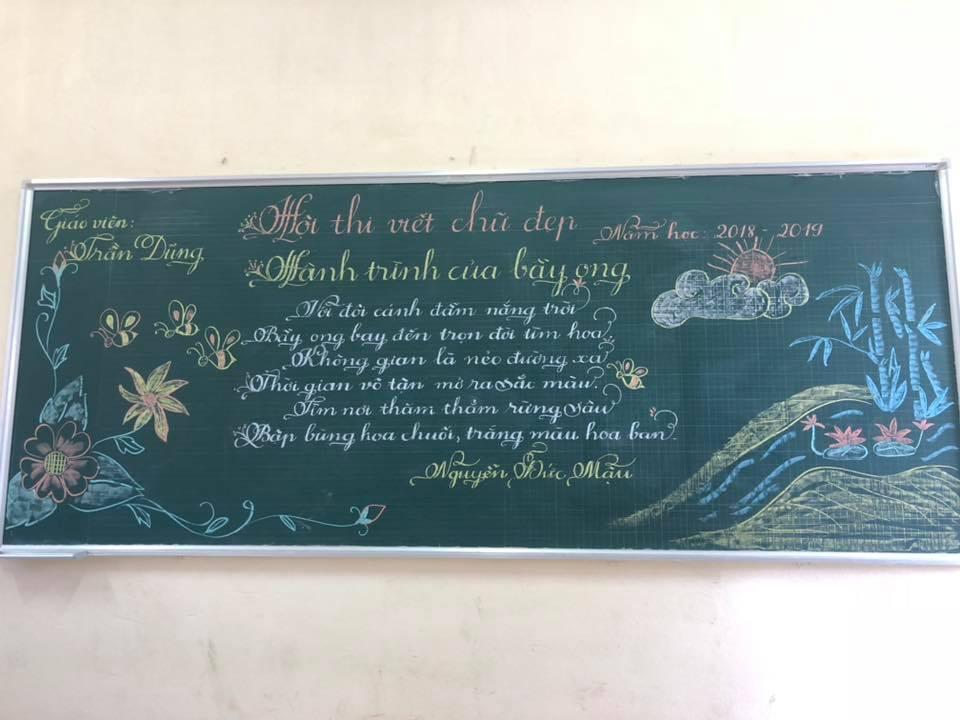viet bang dep 18 - Ngưỡng mộ bài thi viết bảng đẹp của giáo viên trường Lâm Giang
