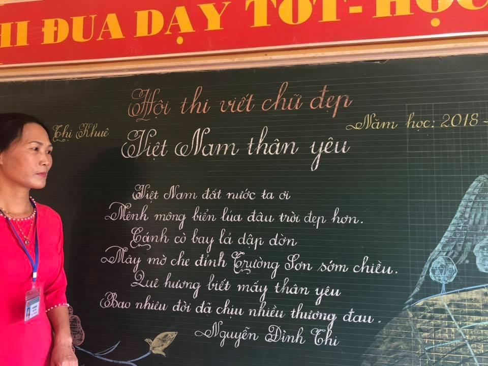 viet bang dep 19 - Ngưỡng mộ bài thi viết bảng đẹp của giáo viên trường Lâm Giang