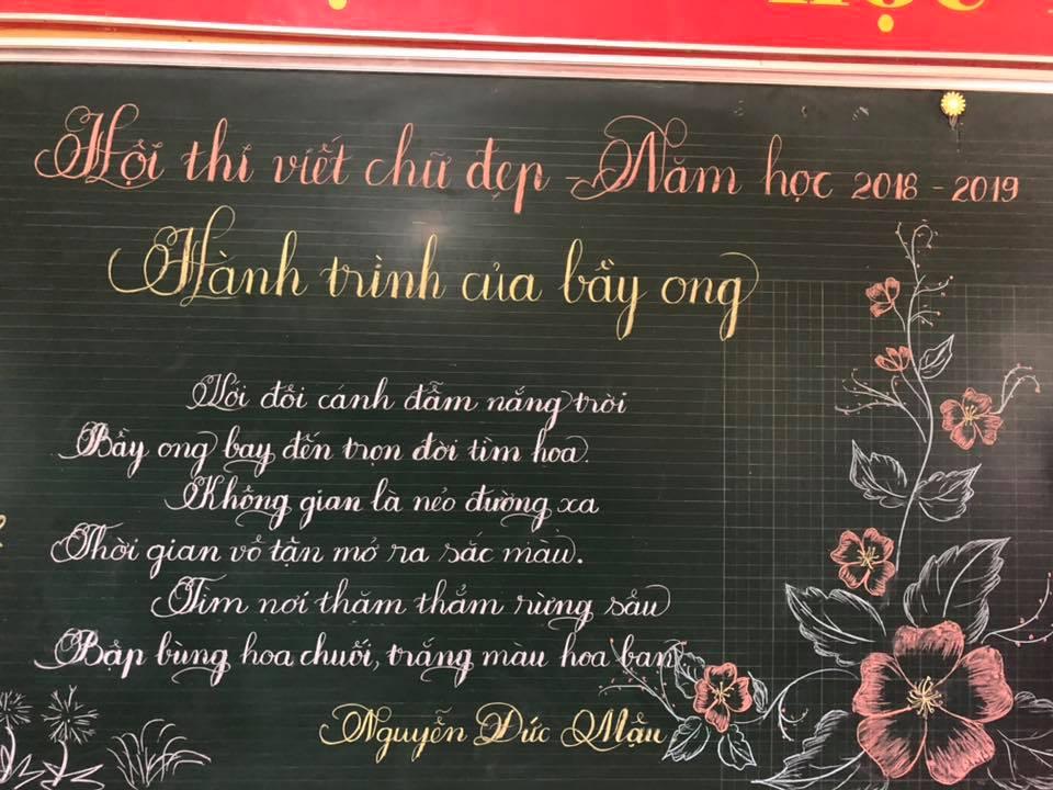 viet bang dep 20 - Ngưỡng mộ bài thi viết bảng đẹp của giáo viên trường Lâm Giang