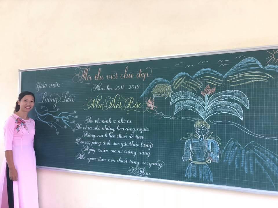 viet bang dep 4 - Ngưỡng mộ bài thi viết bảng đẹp của giáo viên trường Lâm Giang