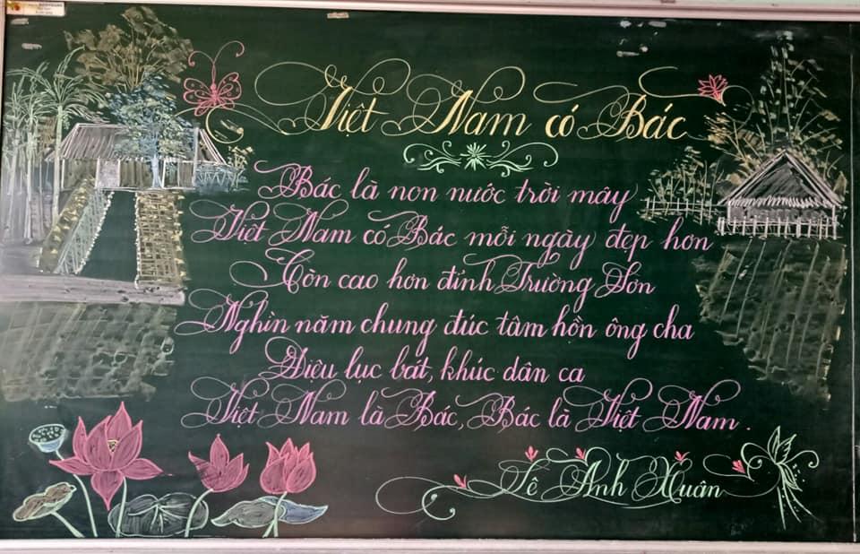 viet bang dep 8 1 - Ngưỡng mộ bài thi viết bảng đẹp của giáo viên trường Lâm Giang